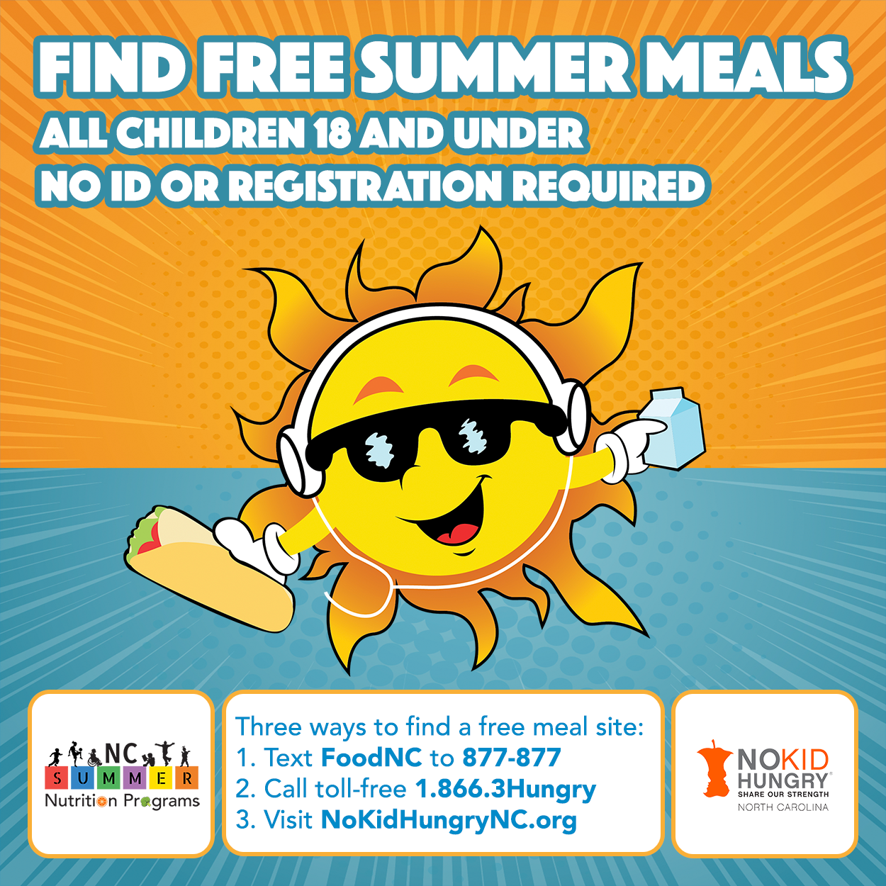 Summer Meals site  http://nokidhungrync.org/find-a-free-summer-meals-site-near-you/