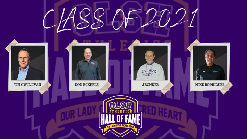 photo of the 2021 inductees into the OLSH athletic hall of fame