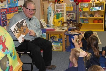 Mr. Abrams reading to K students