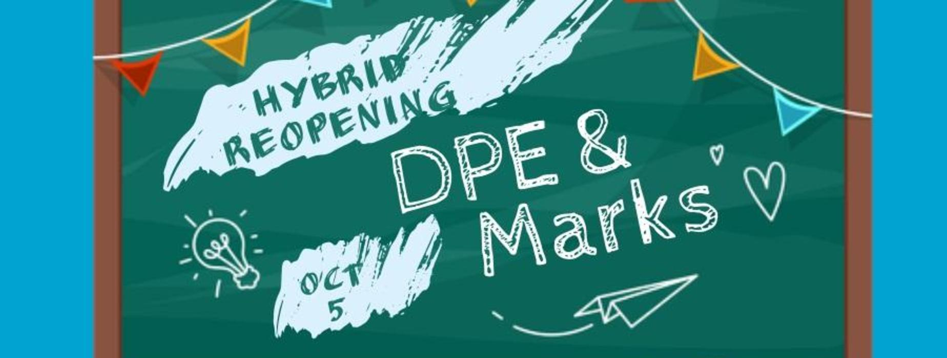 Chalkboard with message about elementary hybrid opening on October 5.