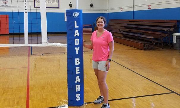 Coach LeBlanc with the new volleyball net