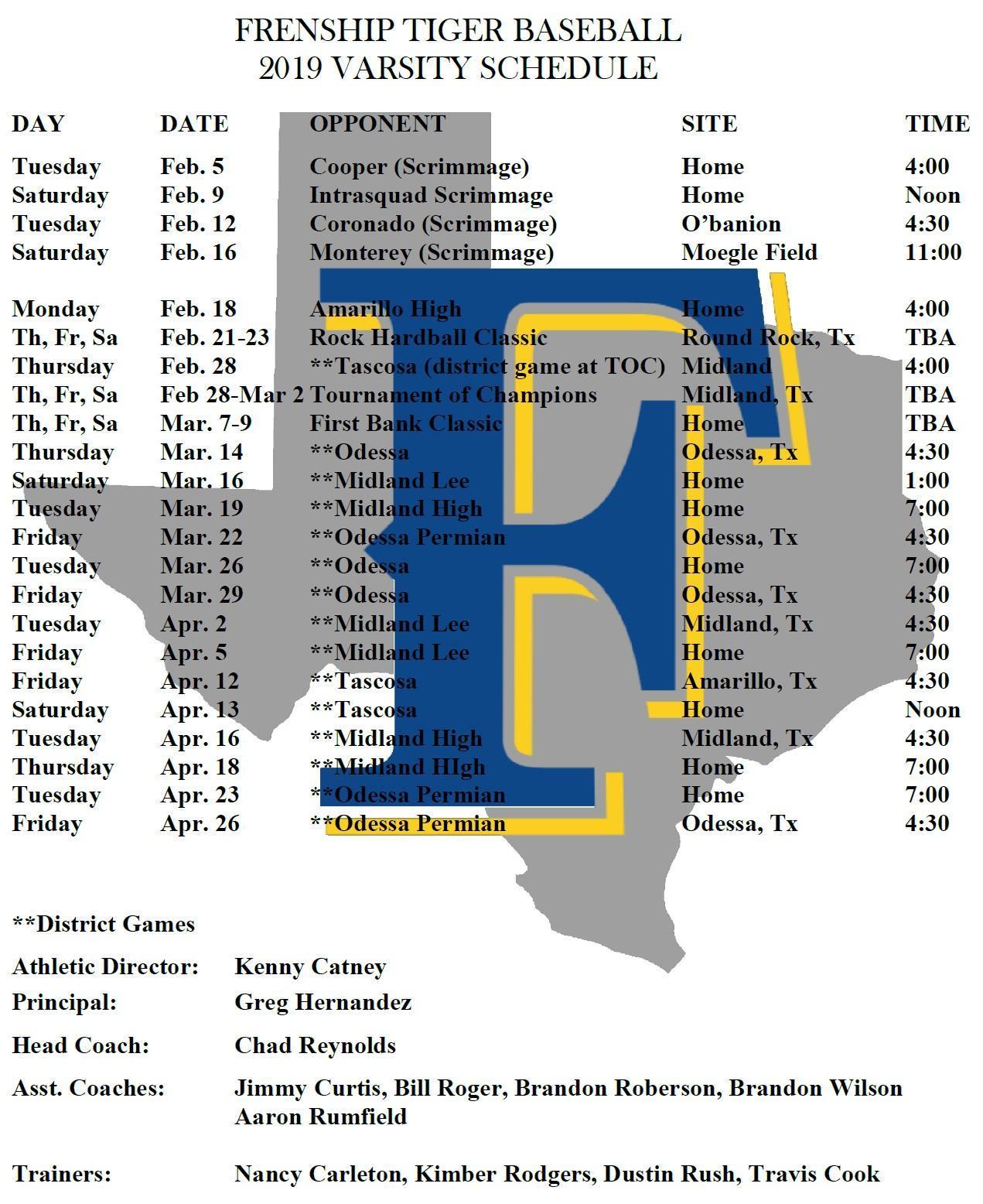 Frenship Baseball 2019 Varsity Schedule