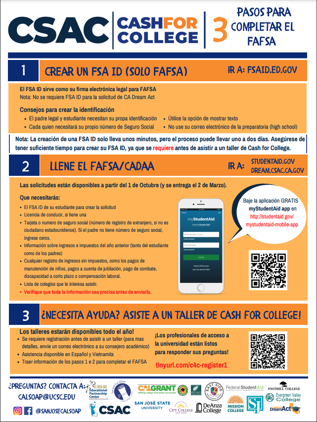 fafsa support from csac spanish