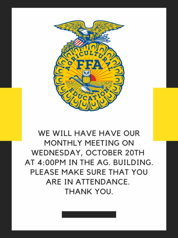 FFA Meeting 10/20 Thumbnail Image