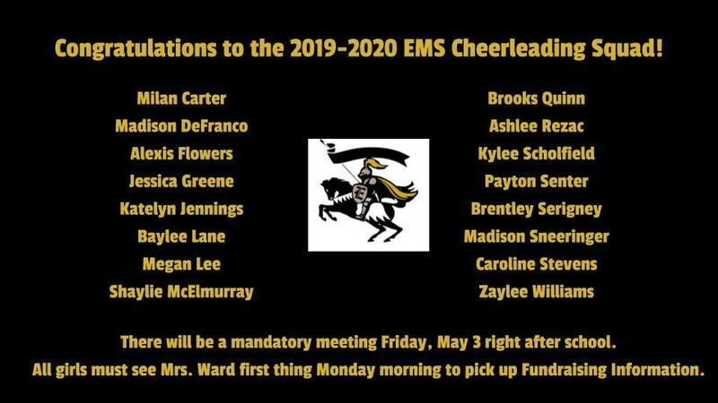 Congratulations to the 2019-2020 EMS Cheerleading Squad!