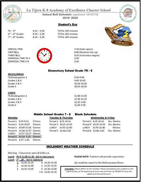 Bell Schedule - On Campus