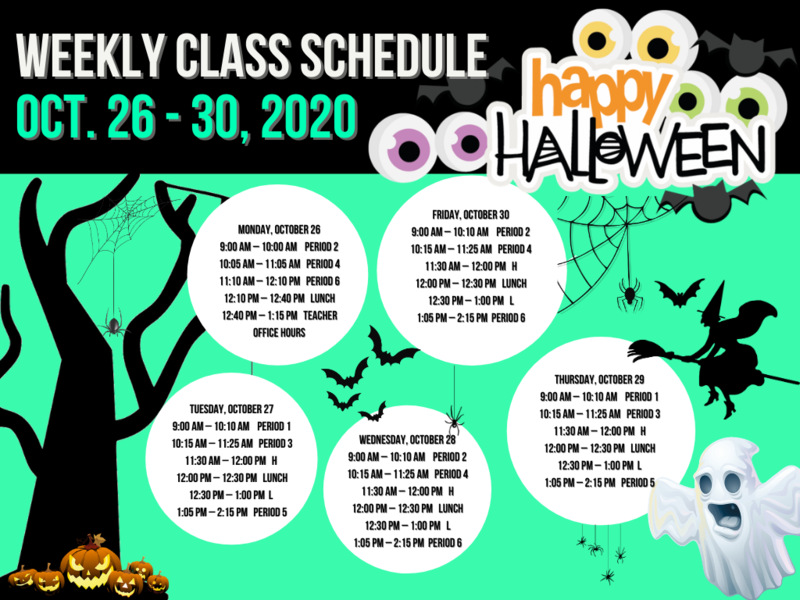 Class Bell Schedule : October 26 - 30, 2020 Featured Photo