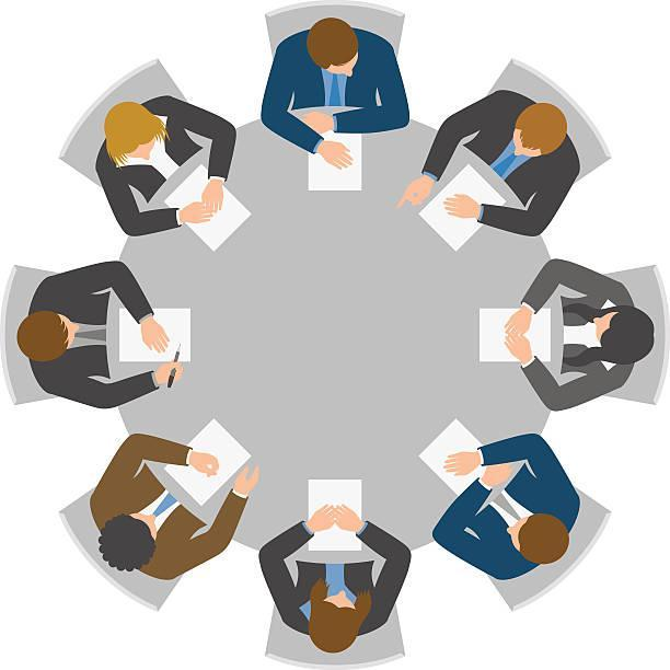 Graphic image of a round table, with people sitting across from each other in a meeting.