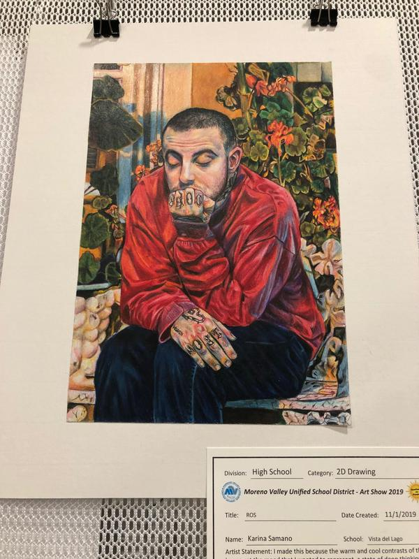 High School - 2D Drawing - Best in Show - Colored pencil Drawing of Mac Miller