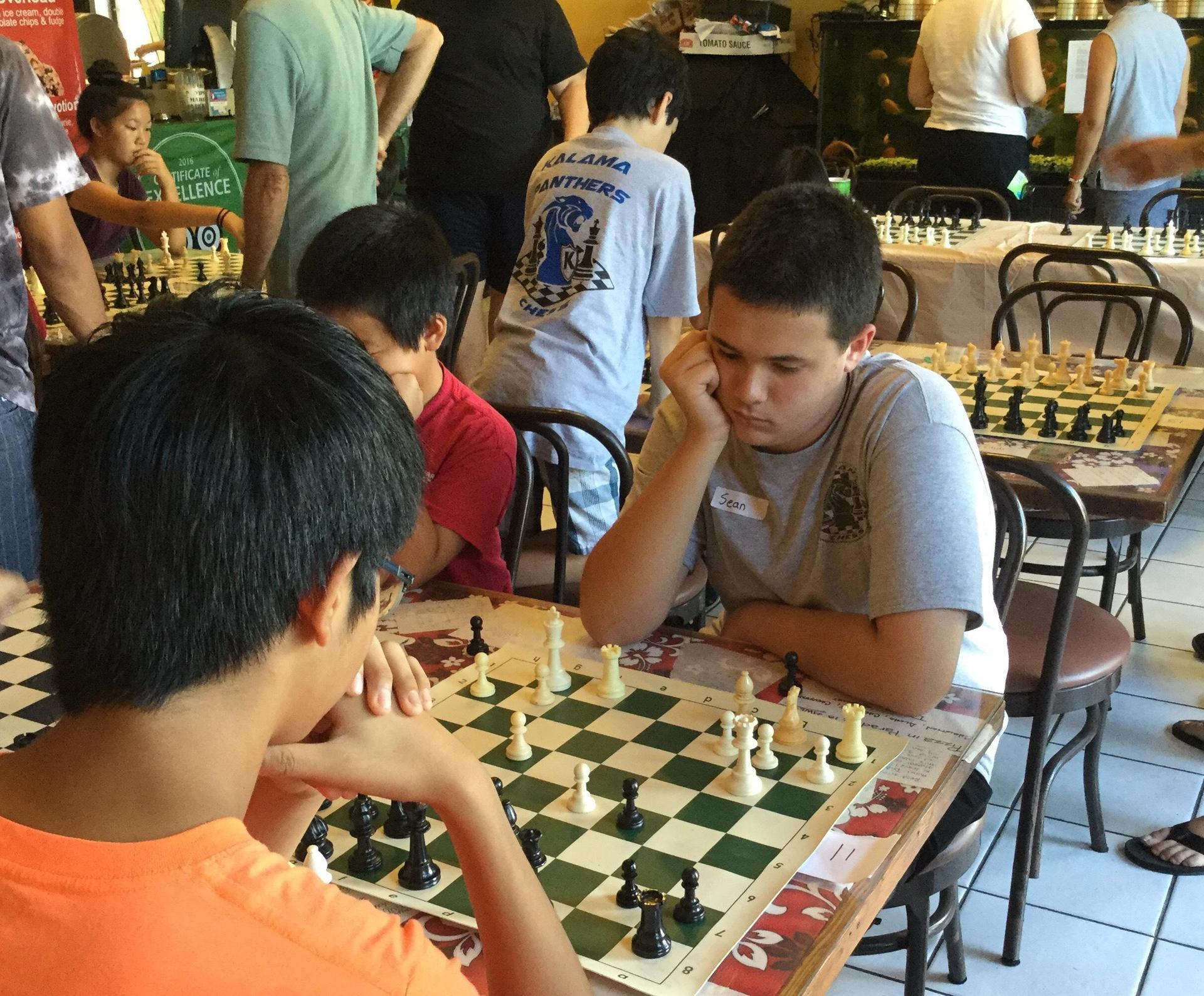 Kalama student playing chess