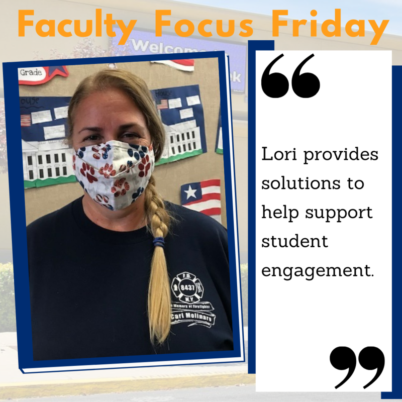 Lori Lick with a mask on and the Faculty Focus Friday boarder around her picture.