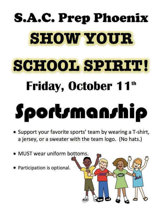 Show your S.A.C. Prep School Spirit, Friday October 11th! Thumbnail Image
