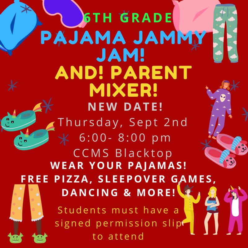 6th Gr Pajama Jammy Jam & Parent Mixer NEW DATE Thumbnail Image
