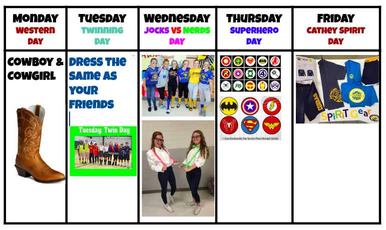 Theme Days for next week