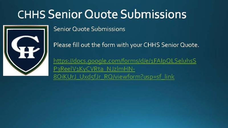 CHHS Senior Quote Submission