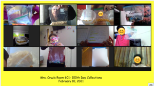 zoom class showing bags of 100 items