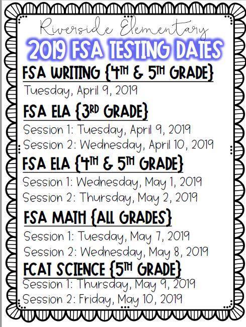 FSA Testing Calendar