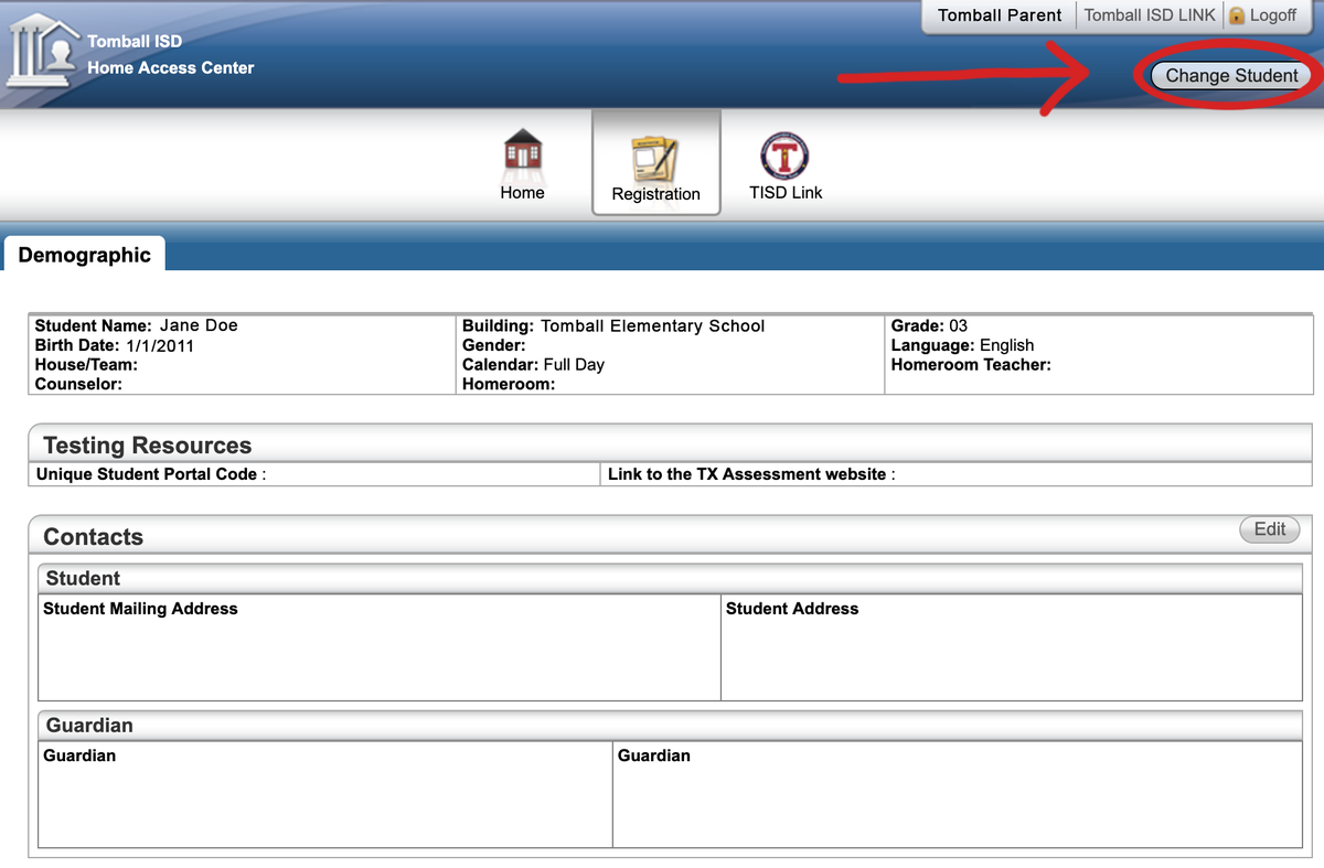 HAC Access switch student profile screenshot