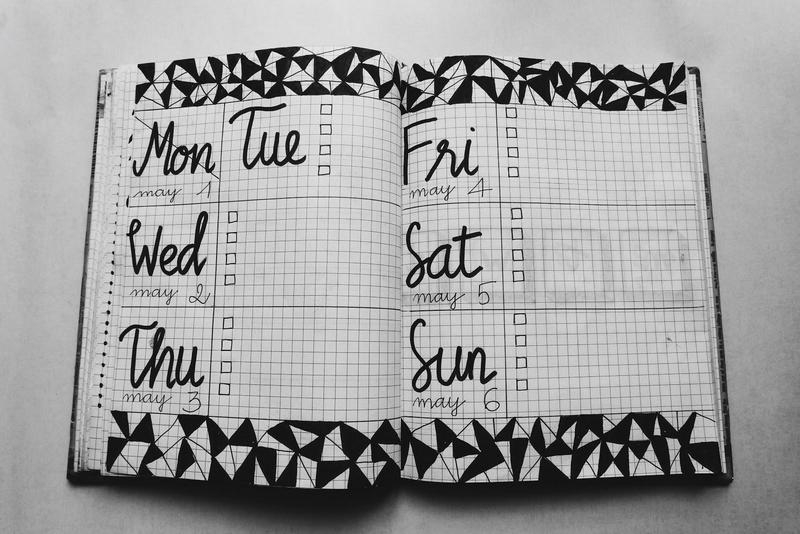 Graphic of a weekly planner.