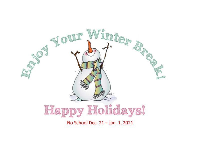 Christmas Break starts Dec. 21 - Jan. 1, 2021 Instruction begins on Jan. 4, 2021 Featured Photo