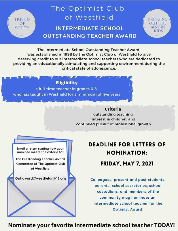 Photo of flyer calling for nominations for Optimist Club's Outstanding Intermediate School Teacher Award.