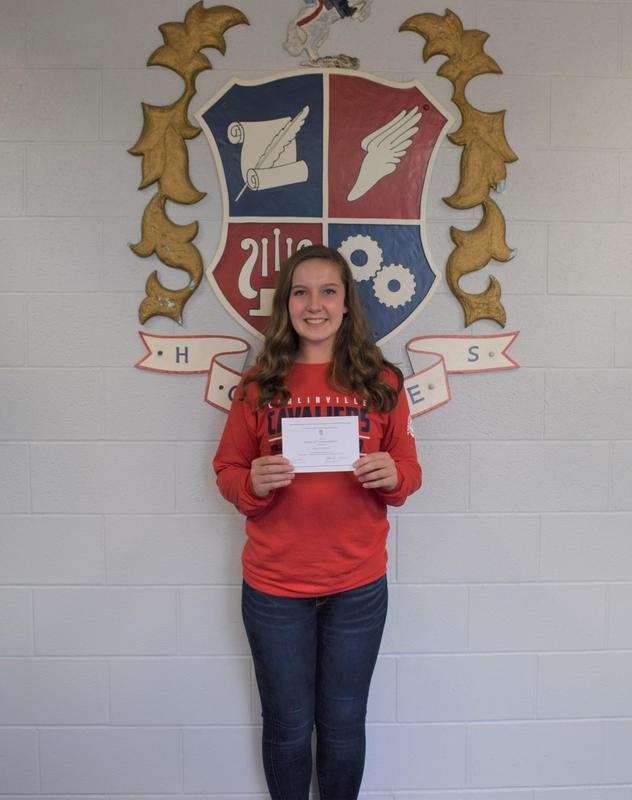 Sarah DeNeve with her Commended Student certificate