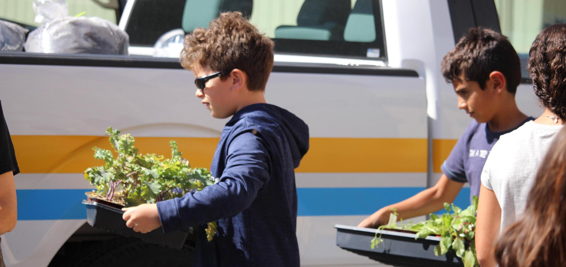 Students carrying plants for the garden box