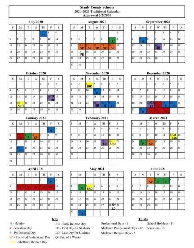 Updated 2020-2021 Stanly County Schools calendar Featured Photo