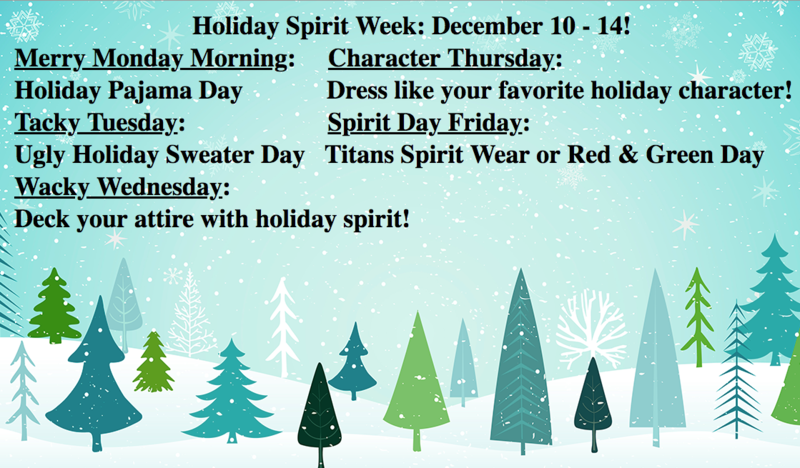 Holiday Spirit Week: Dec. 10-12!