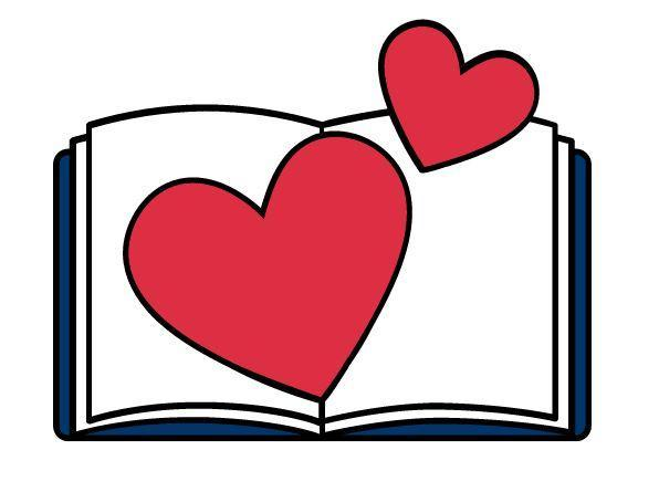 Navy blue and white book with two hearts on the book
