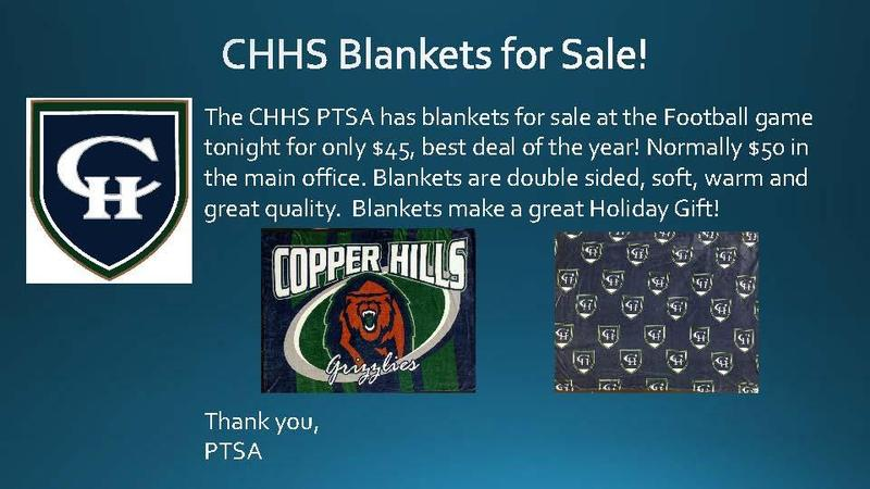 CHHS PTSA Blankets for sale $45 at the football game only!