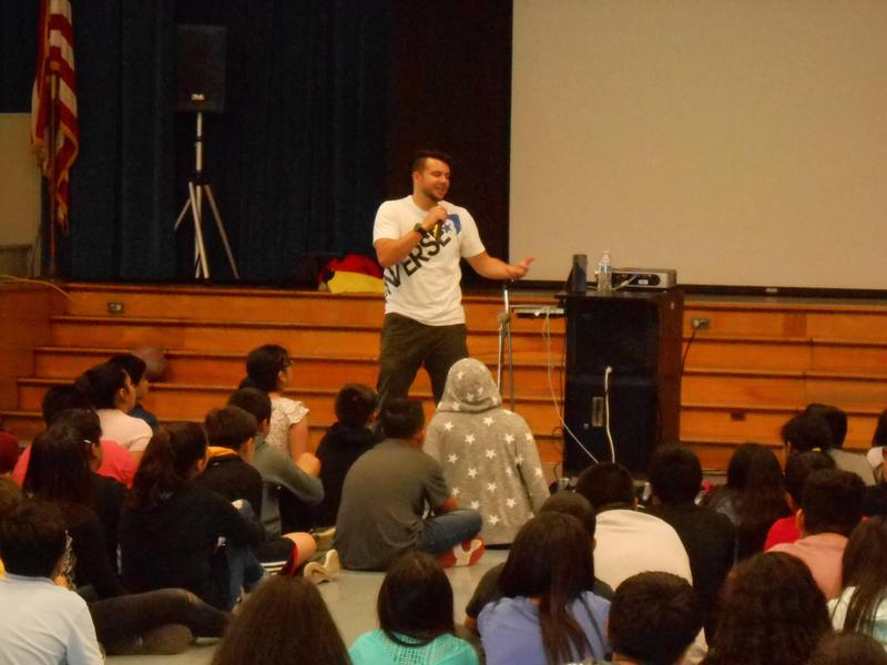 Josh Drean Speaking with students.