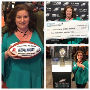Mrs. McCarty earns the Axalta-Eagles  All Pro Teacher award for 2018.