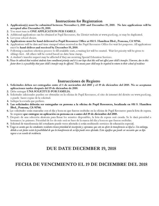District Application for Intra-District Transfer/Solicitud para Transferencia Dentro del DistritoDistrict Application for Intra-District Transfer/Solicitud para Transferencia Dentro del Distrito