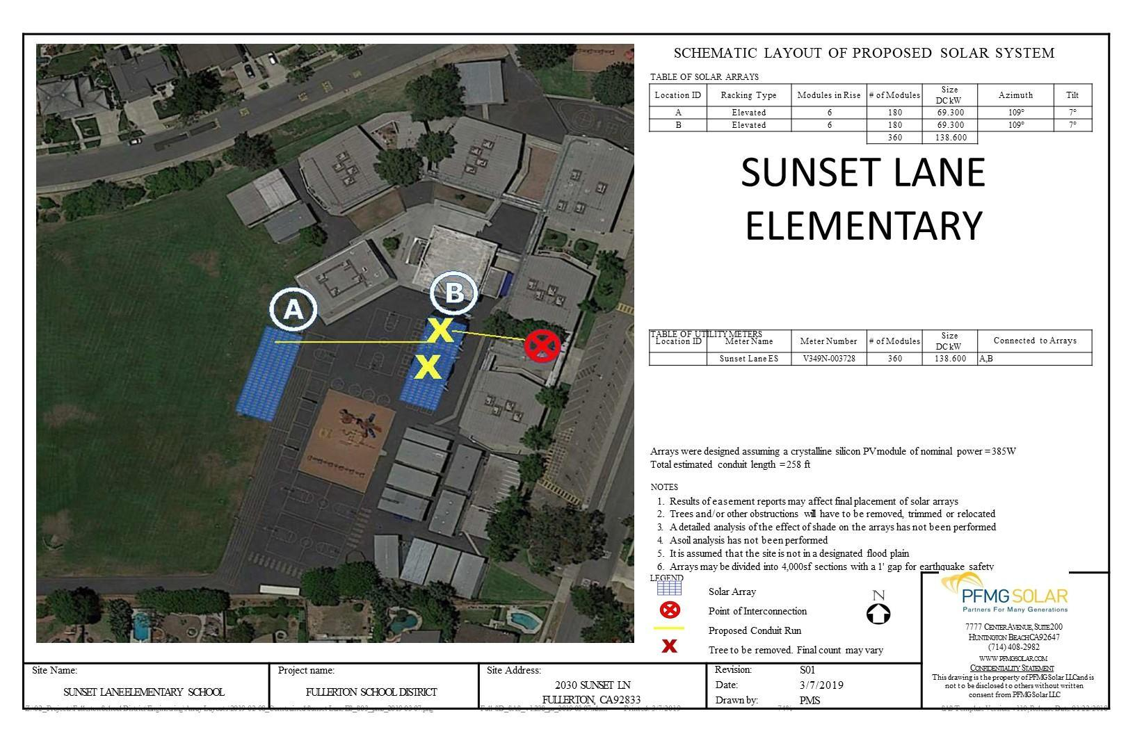Sunset Lane Elementary Schematic Layout of Proposed Solar System