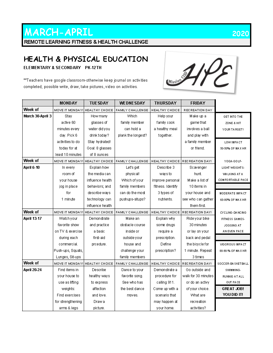 Remote Learning Fitness & Health Challenge Calendar