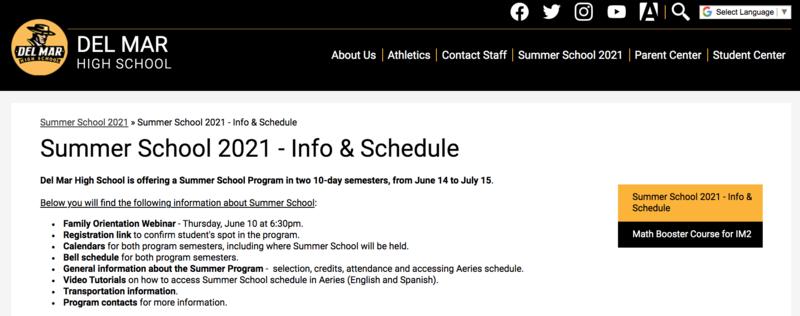 summer school webpage