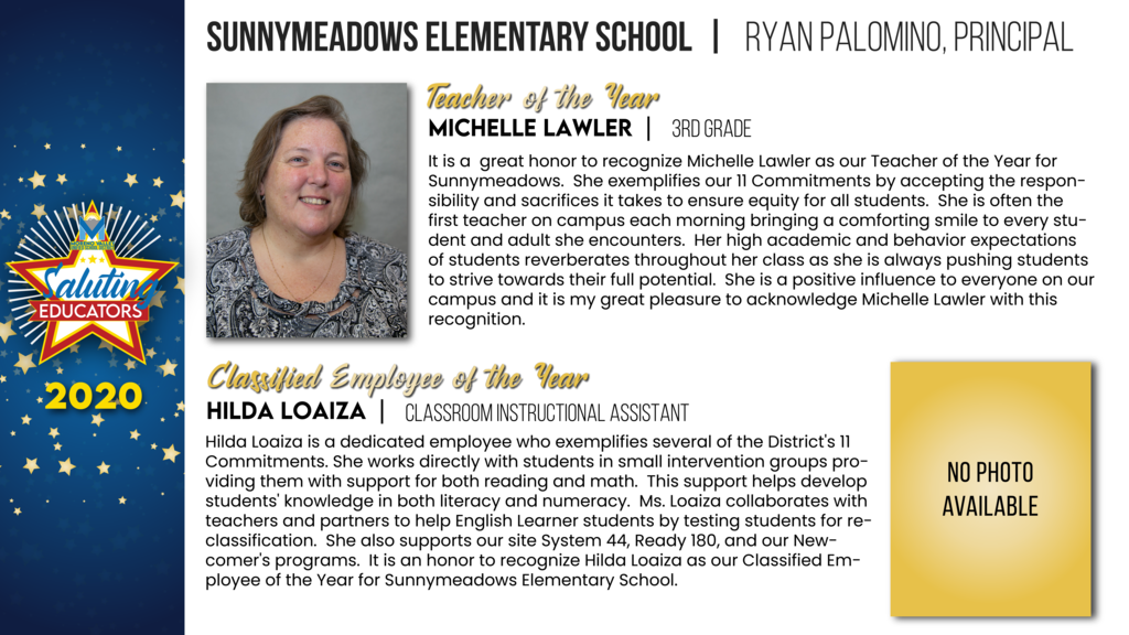 Sunnymeadows Elementary Employees of the Year