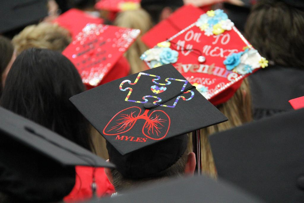 Top of decorated graduation cap