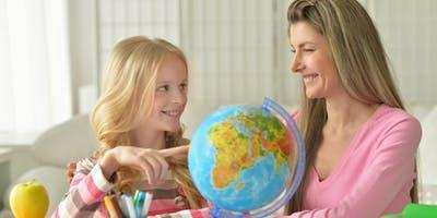 Girl with child and globe