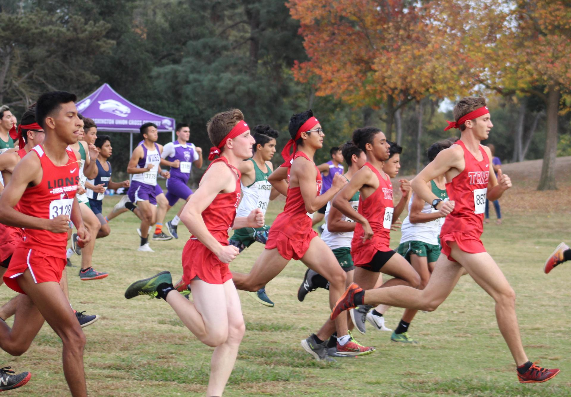Cross Country team starting race at Woodward Park