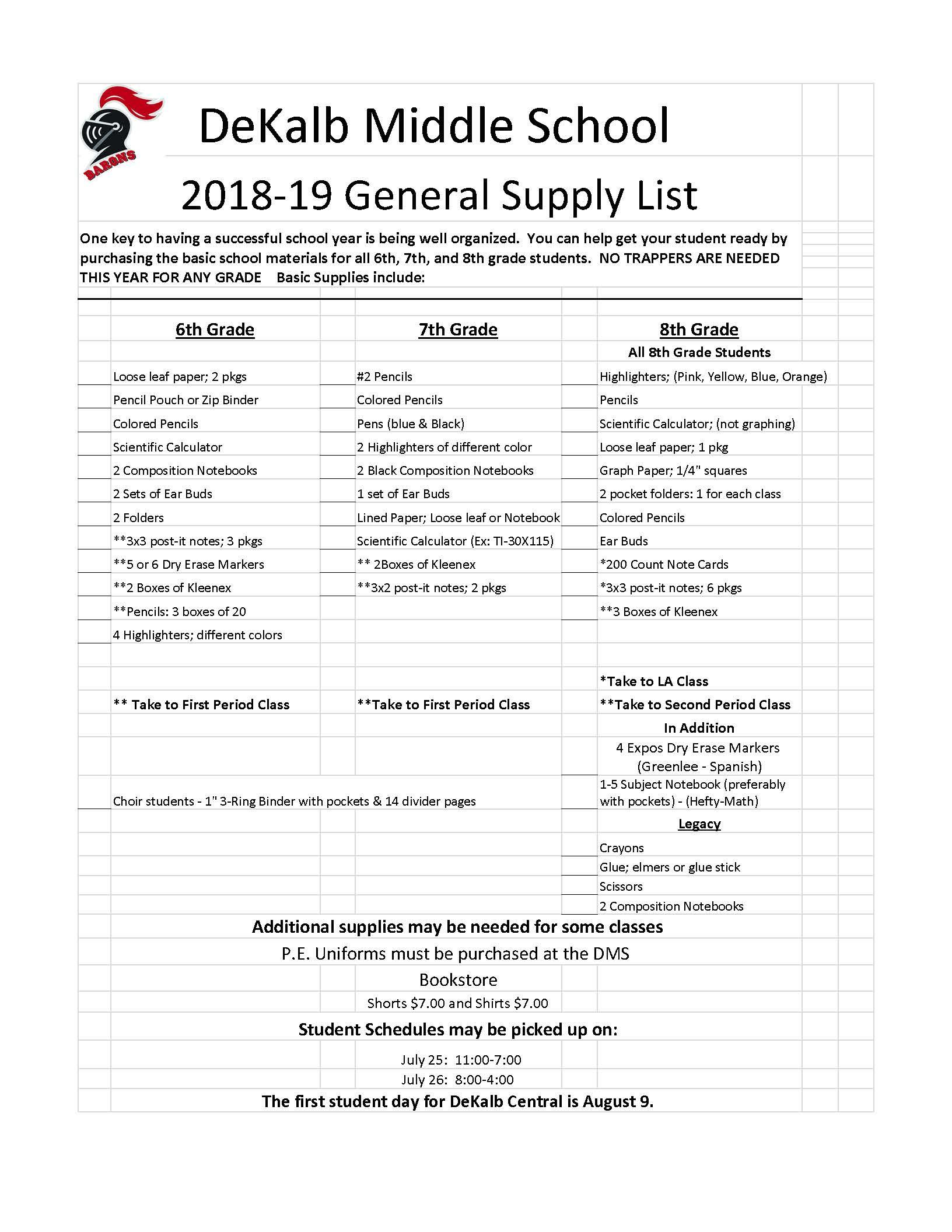 DMS Supplies Lists