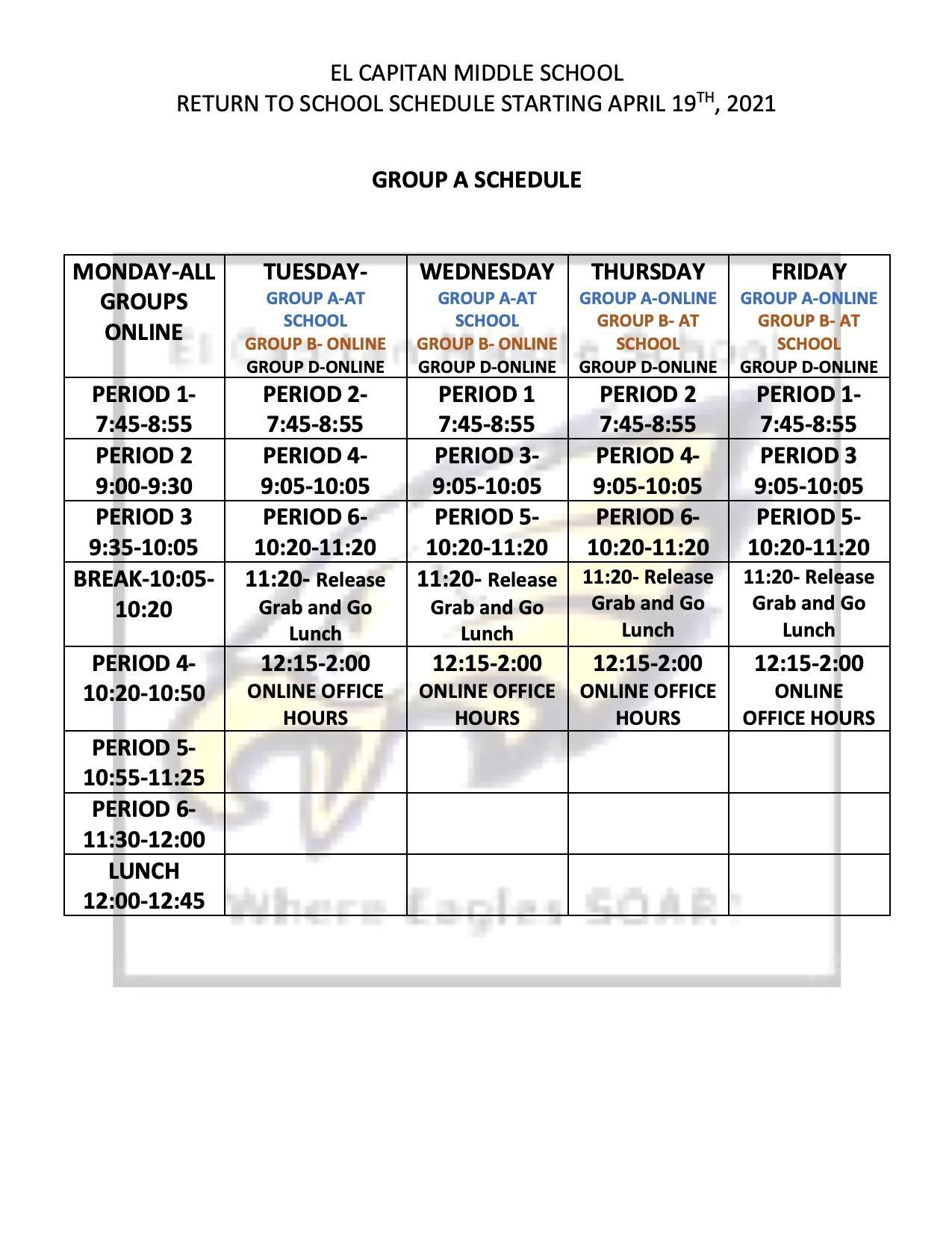 Return to School Schedule Starting April 19, 2021