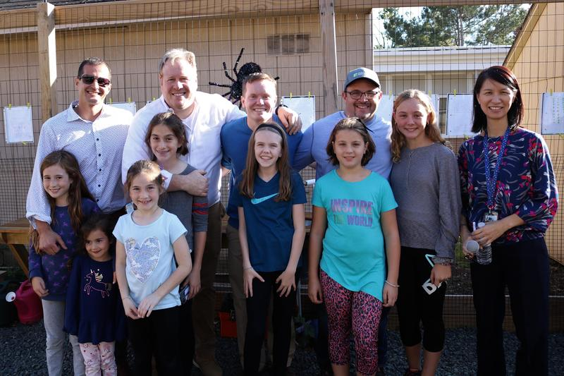 Photo of Jefferson principal Dr. Susie Hung with parents and students at dedication of new Learning Garden.