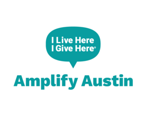 Teal Amplify Austin logo with a speech bubble that says