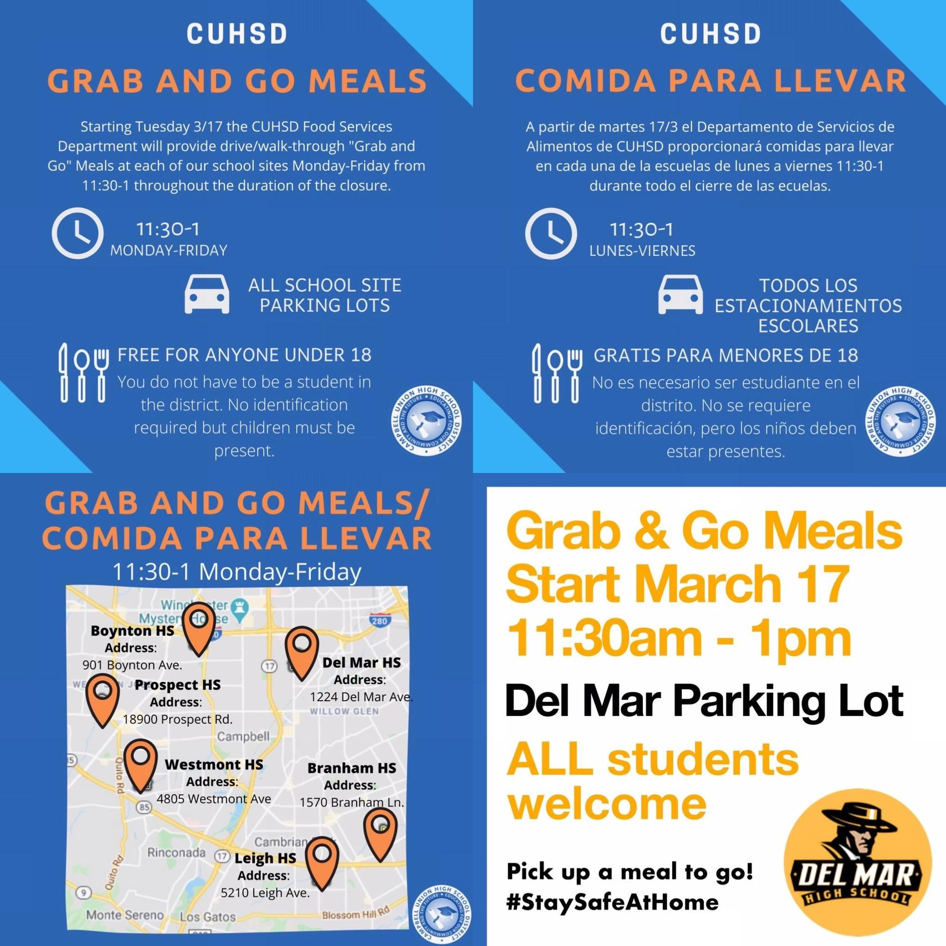 flyer promoting free meals to students during coronavirus