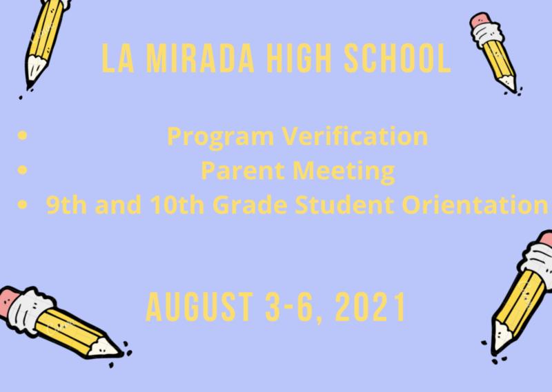 2021-2022 Program Verification & Orientation Dates Featured Photo