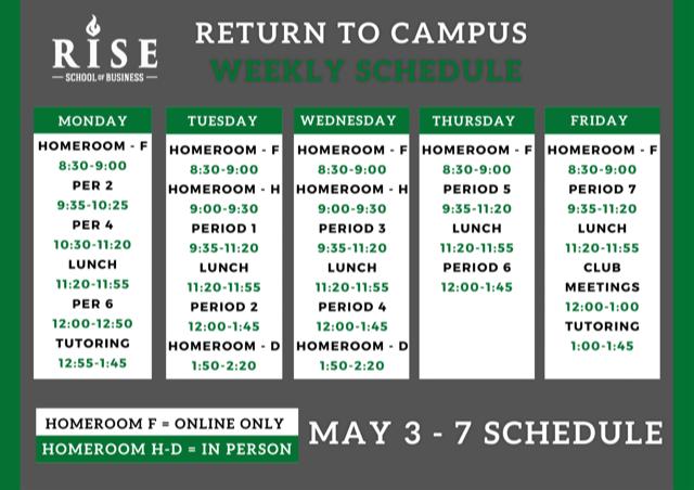 RISE Schedule for the Week of May  3rd / Horario de clases de RISE para la semana del 3 de mayo Featured Photo