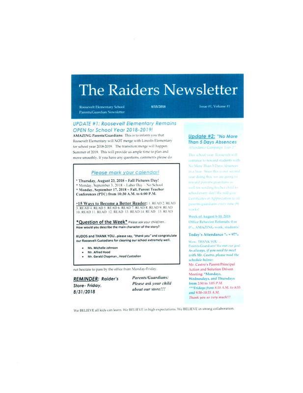Roosevelt Raider Newletter Featured Photo