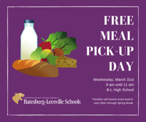 Free Meal Pick-Up Event Planned for March 31st